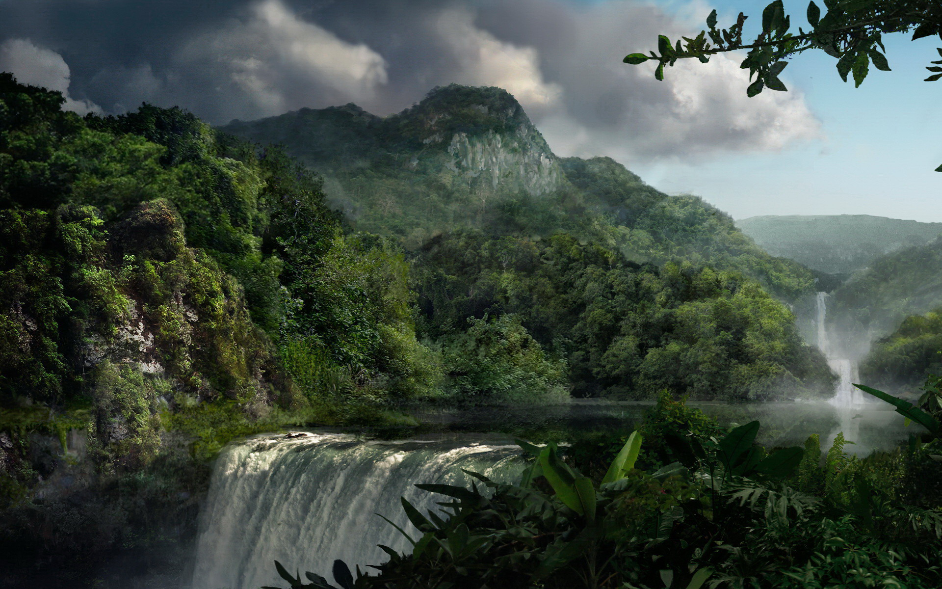 Wallpaper waterfall mountain jungle Beautiful jungle 1920x1200