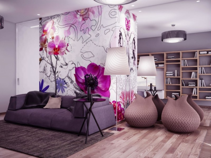 Chic Wallpaper Design Living Room Wall   pictures photos images 800x600