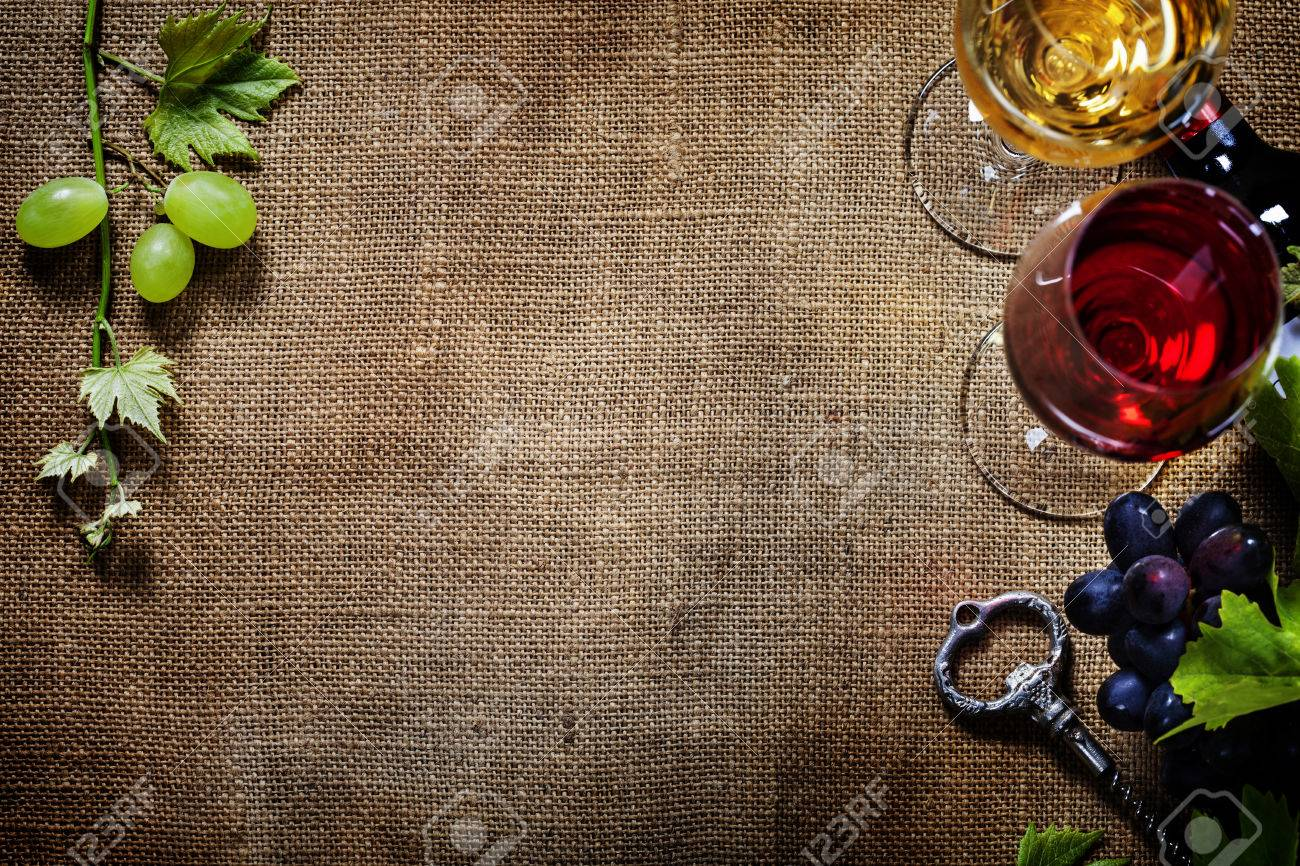 Food Background With Wine And Grape Lots Of Copy Space Stock 1300x866