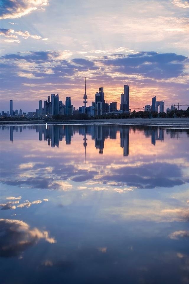Wallpaper Dusk Kuwait City buildings sea clouds 1920x1200 HD 640x960
