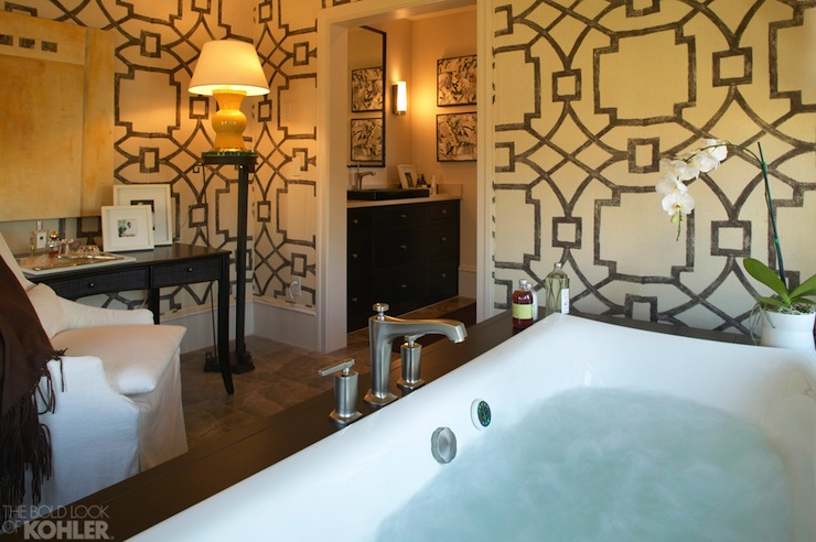 bathroom with Michael Devine FretworkChocolate 101 5B wallpaper 740x492