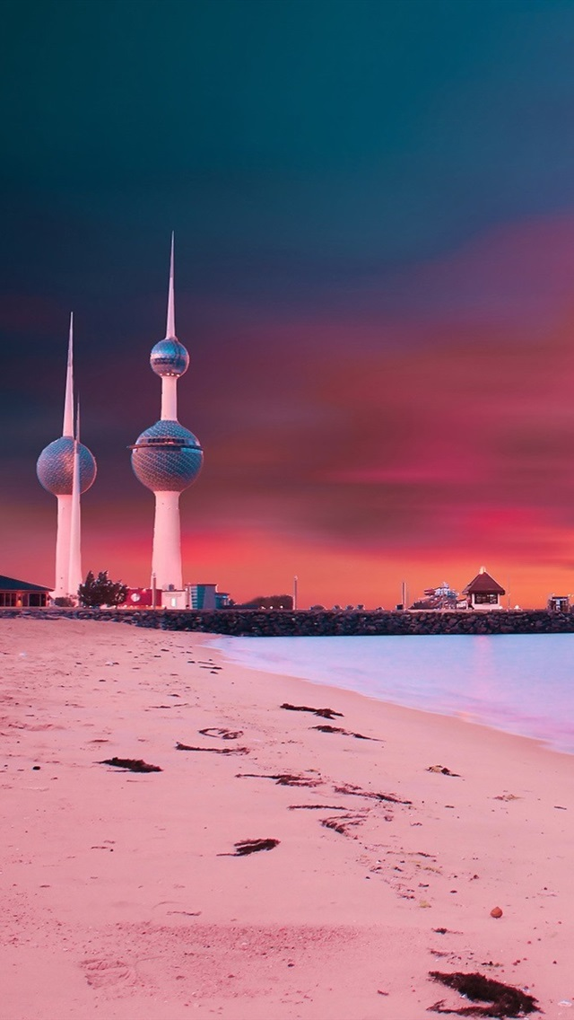 Wallpaper Kuwait Towers sunset bridge beach coast 1920x1200 HD 640x1136