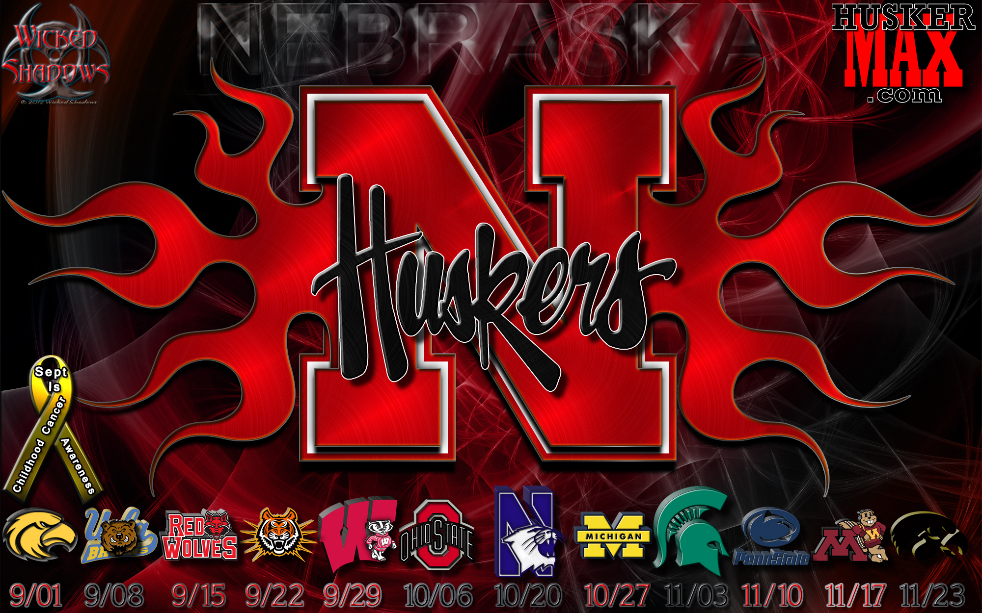 Nebraska Huskers 2012 football schedule wallpaper 2000x1250