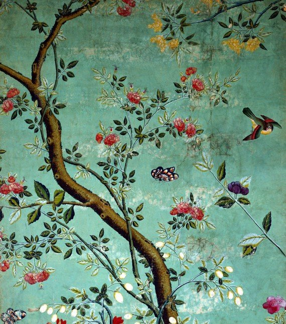 Chinese Wallpaper Wallpaper with flowering shrubs and fruit bees on 570x646