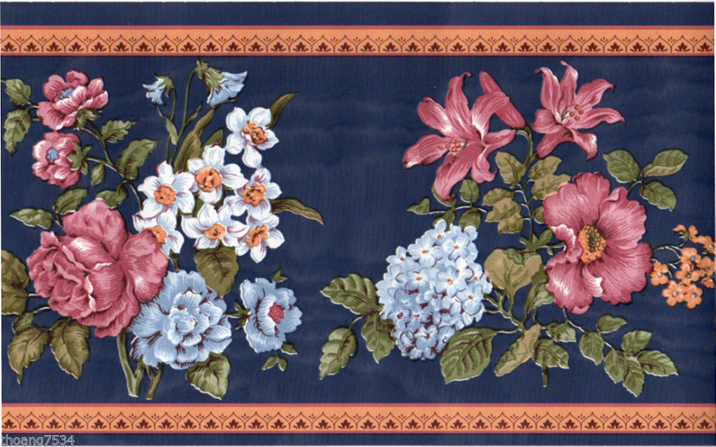 Navy Blue Orange Rose Pansy Lily Daffodil Floral Flower Satin Wall 1024x640