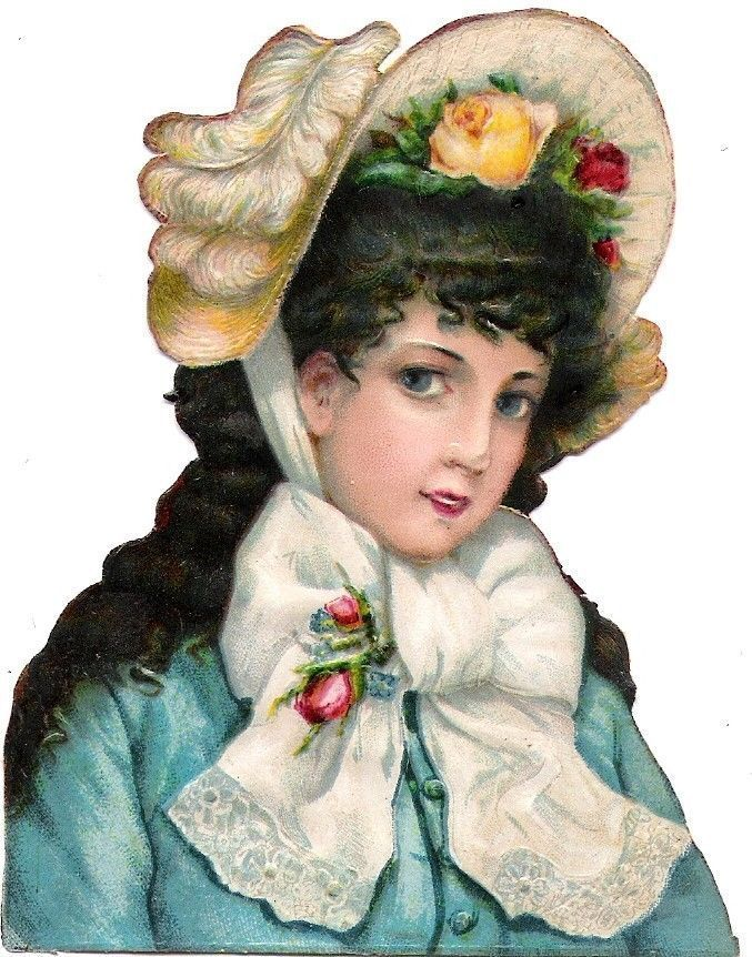 Oblaten Glanzbild scrap die cut chromo Lady Dame femme head 677x862
