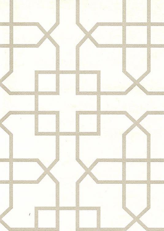 Siam Trellis Wallpaper Off white wallpaper with silver trellis design 534x752