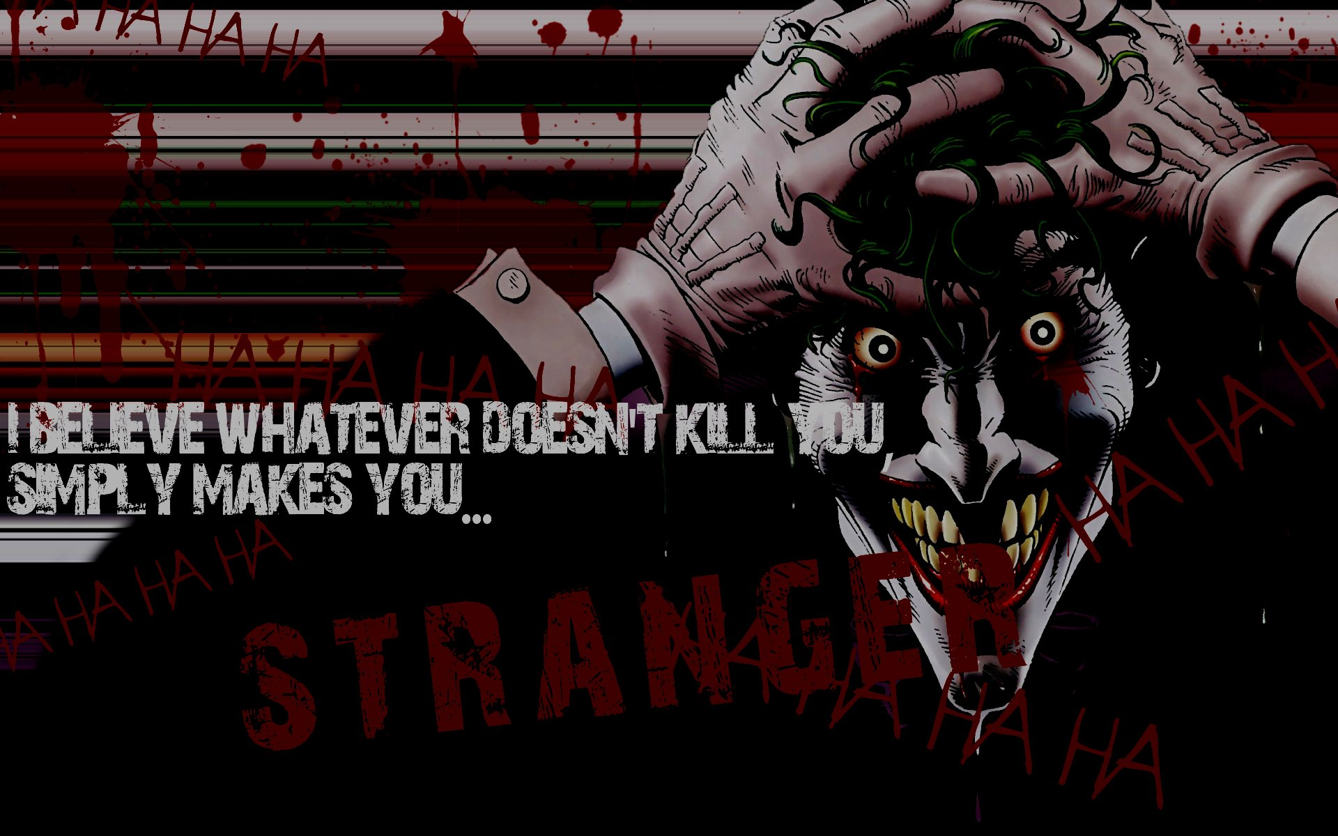 Comics The Joker typography what doesnt kill you wallpaper background 1920x1200