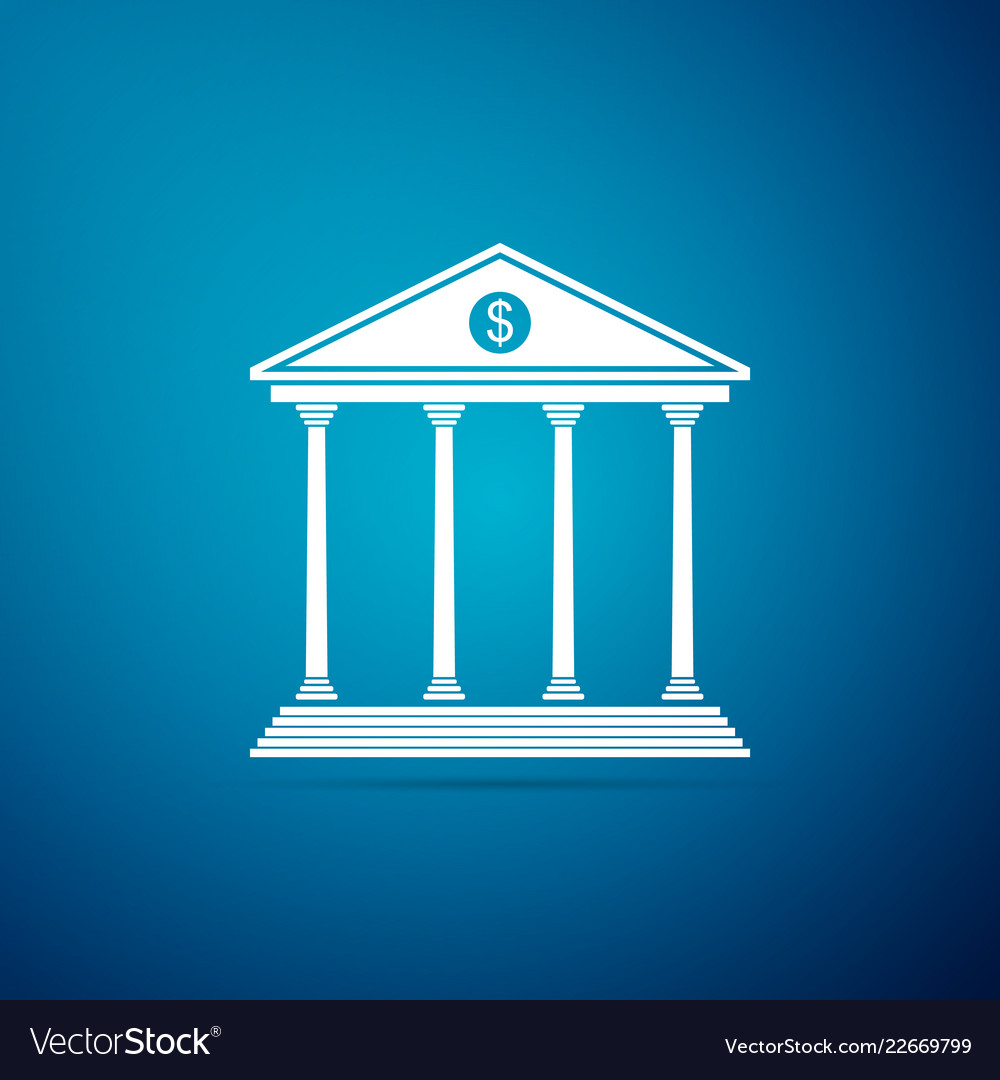 Bank building icon isolated on blue background Vector Image 1000x1080
