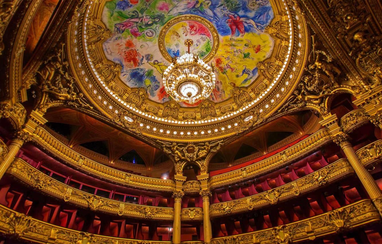 Wallpaper France Paris the ceiling chandelier theatre 1332x850