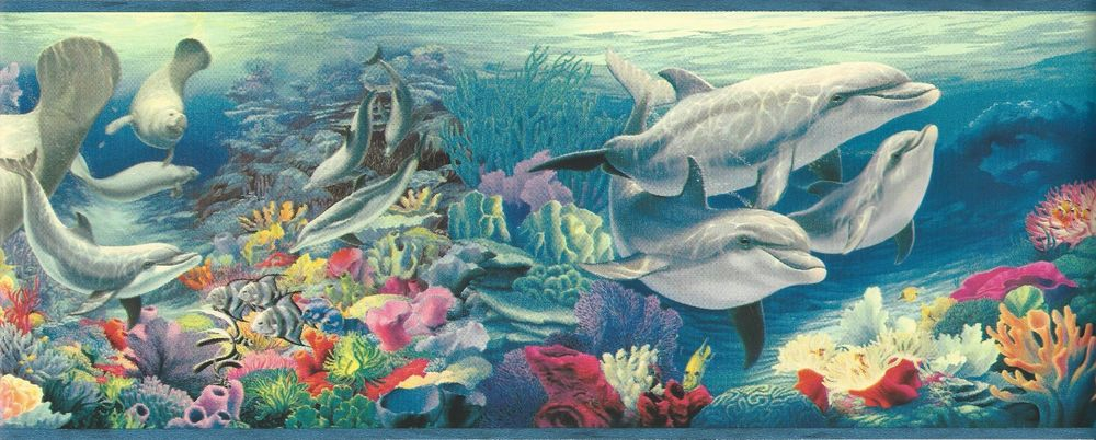 Wallpaper Border Tropical Ocean Underwater Sea Life Fish Dolphin Coral 1000x402