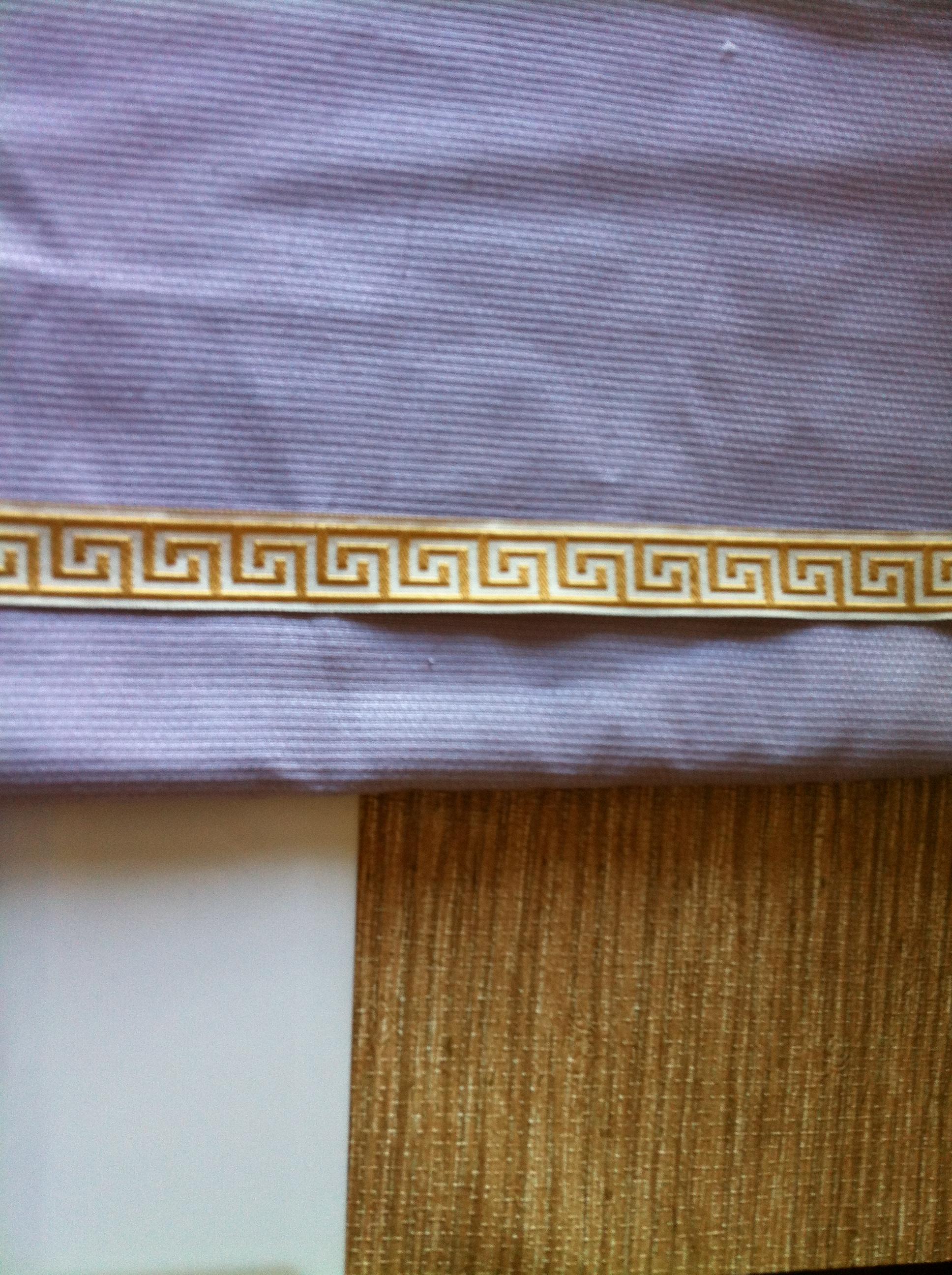 fabric greek key trim grasscloth wallpaper and white subway tile 1936x2592