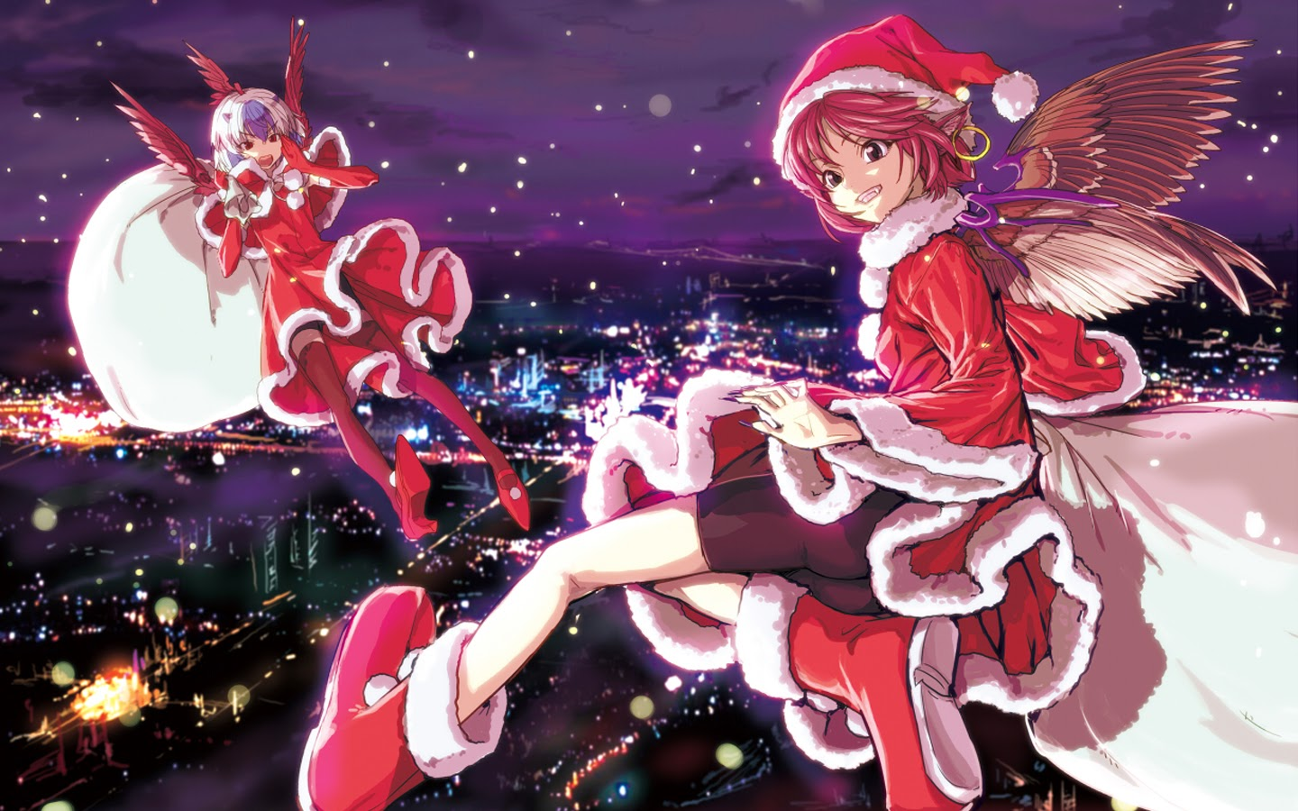 Free Download Anime Christmas Girls 18 Background