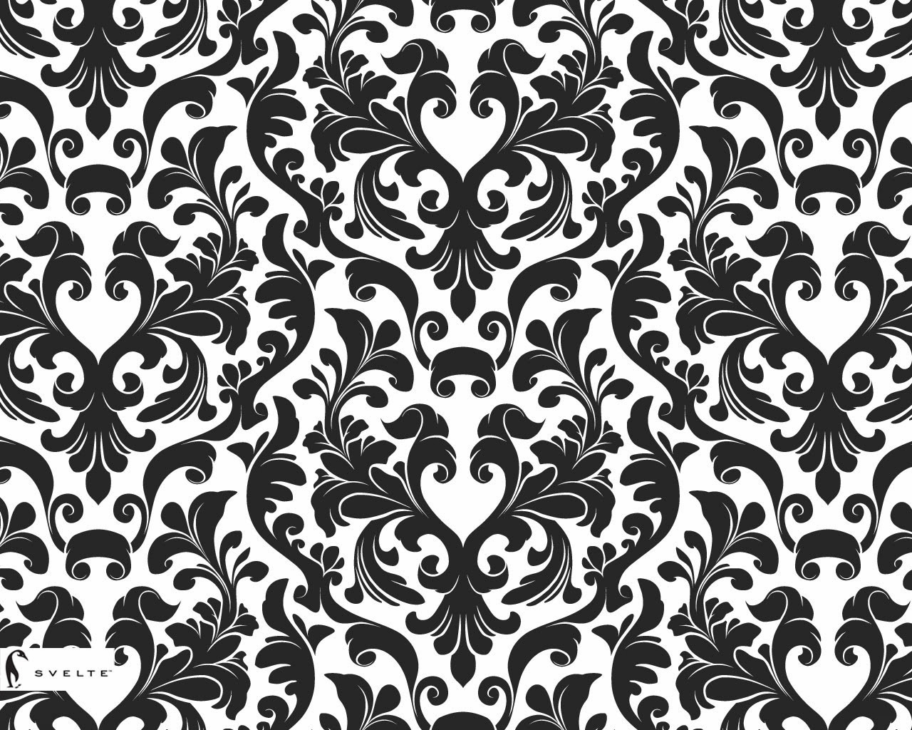 Black And White Damask Patterns Wallpaper 1280x1024