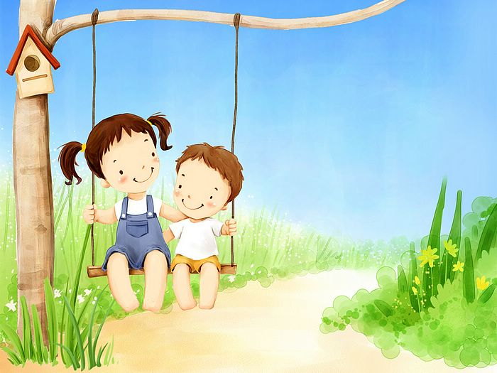 Fun Childrens Day Art Wallpaper Sister and Little brother on swing 700x525