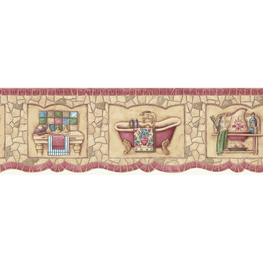 Red Mosaic Bath Tub Prepasted Wallpaper Border at Lowescom 900x900