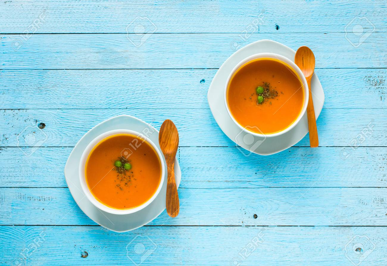 Homemade Pumpkin Soup On Rustic Wooden Background Space 1300x894