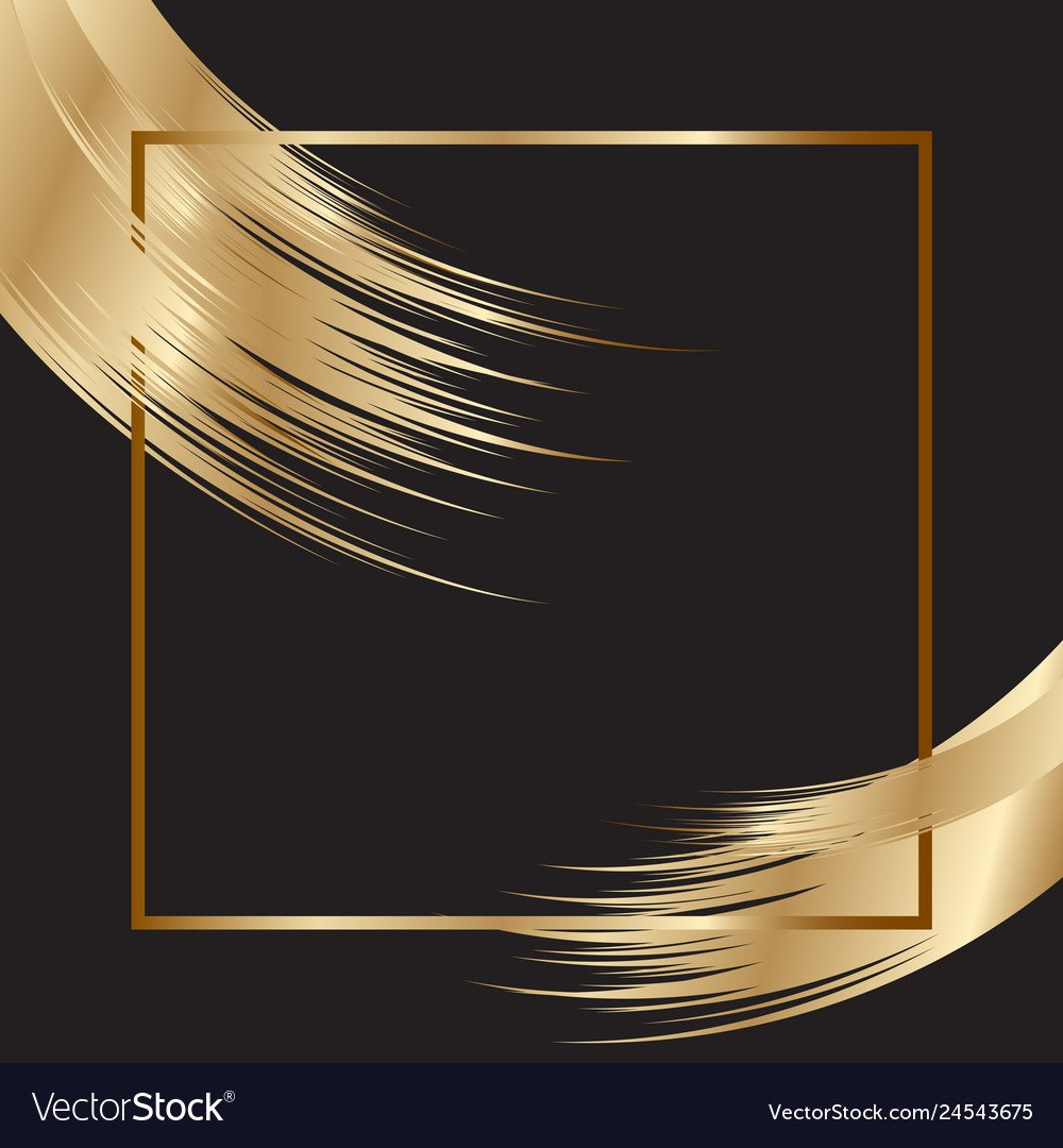 Elegant background with gold frame and brush Vector Image 1000x1080