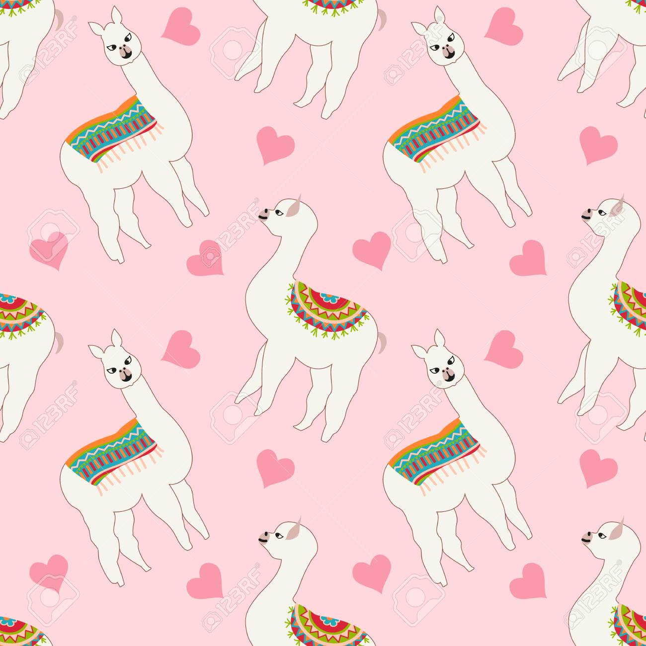 Seamless Pattern With Cute Llama And Heart Vector Abstract 1300x1300