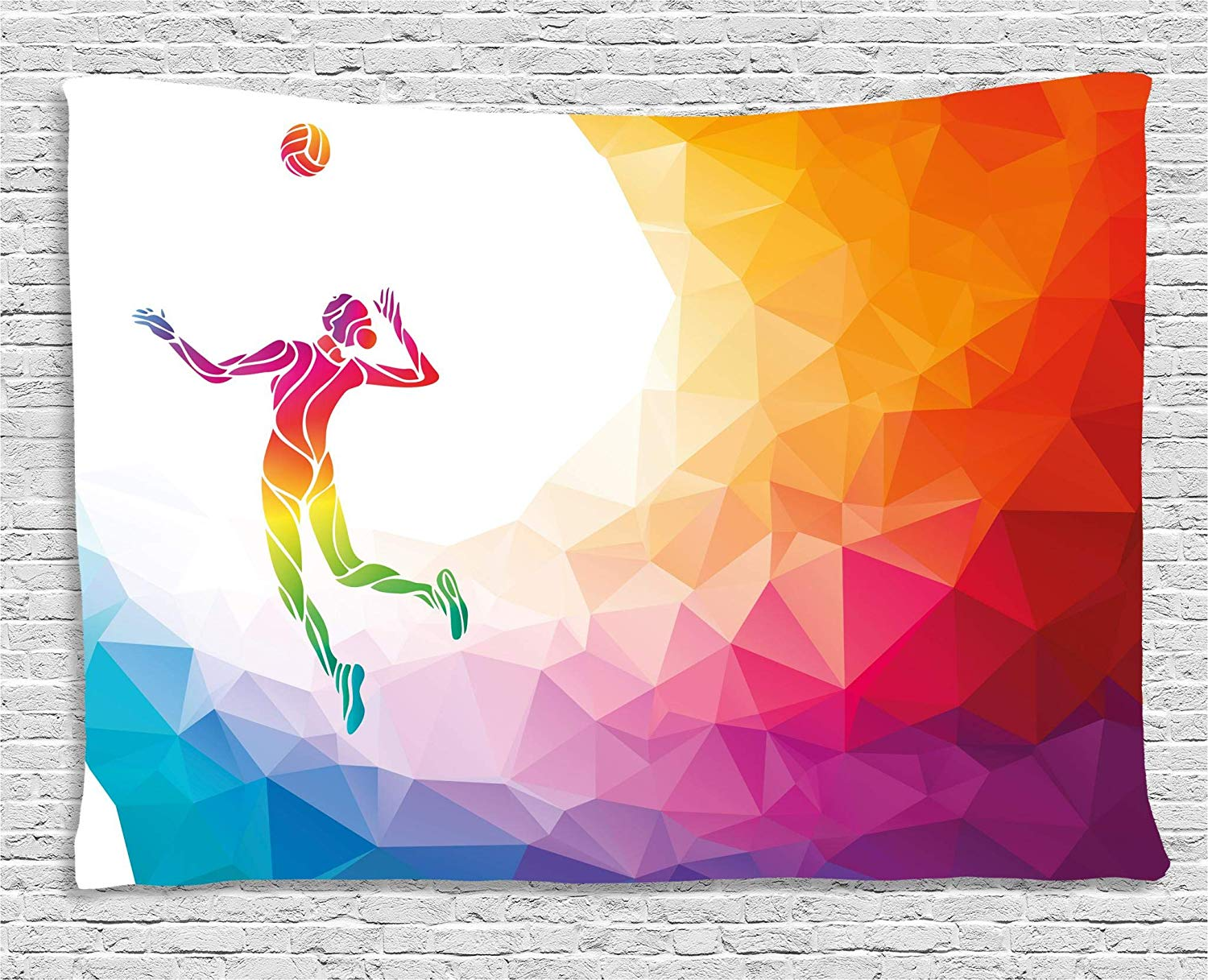 Amazoncom Lunarable Volleyball Tapestry by Colorful Polygonal 1500x1217