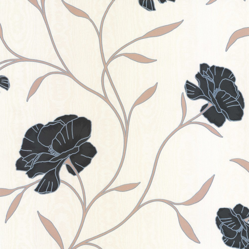Erismann Poppy Floral Wallpaper Black Cream Beige 8994 15 1000x1000