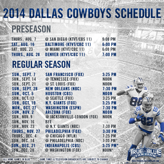 dallas cowboys schedule 2014 - photo #10
