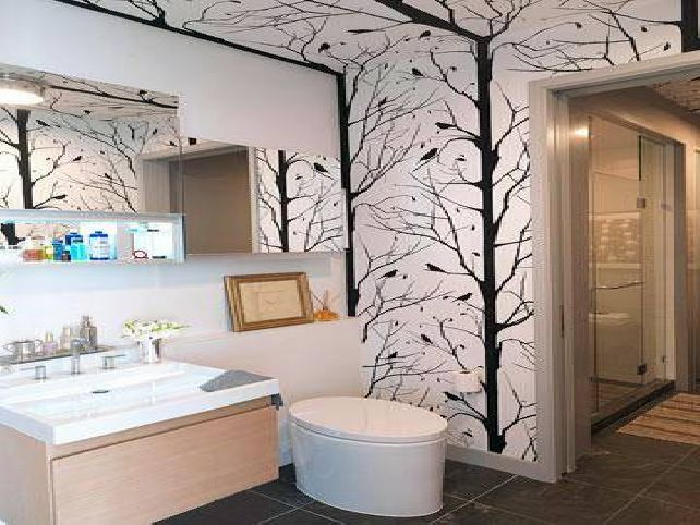 Gallery of Tips to Choose Bathroom Wallpaper Ideas 642x482