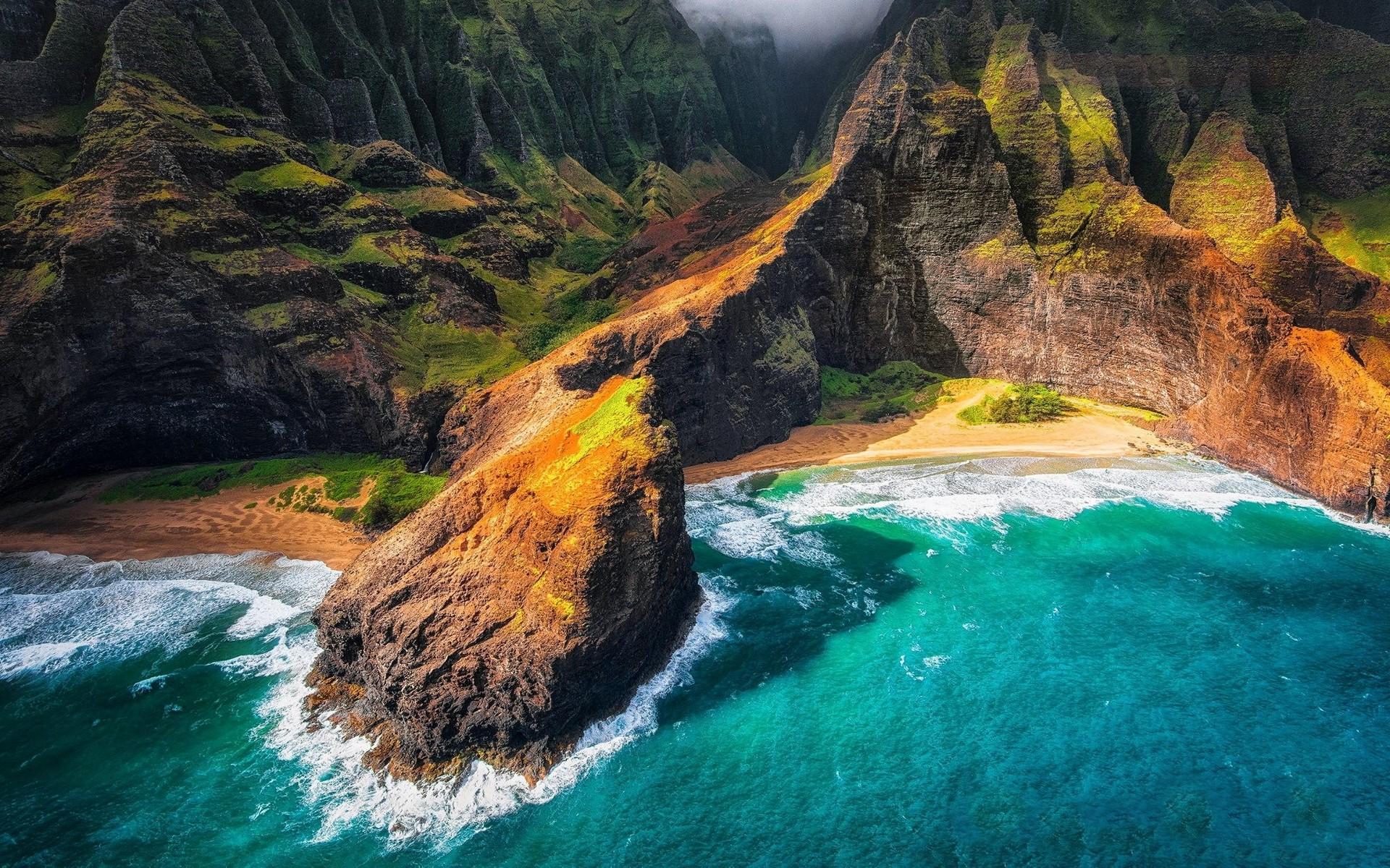 landscape Nature Kauai Hawaii Beach Cliff Sea Mountain 1920x1200
