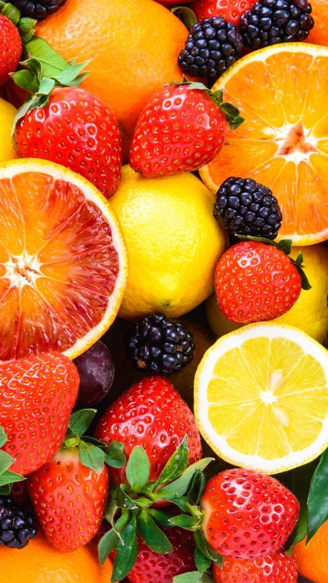 Wallpaper fruit apple orange strawberry lemon blackberry 5k 640x1138