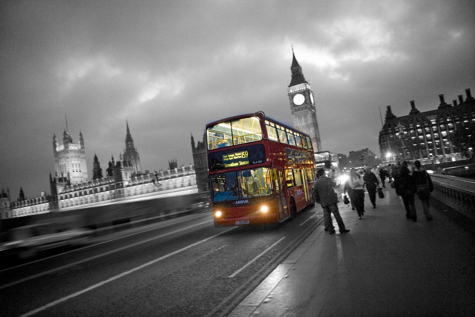 London bus black and white photography with color Black and White 1600x1066