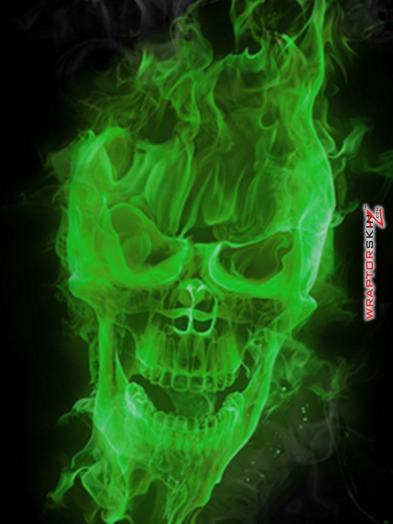 Green Fire Skull Wallpaper wallpaper download 768x1024