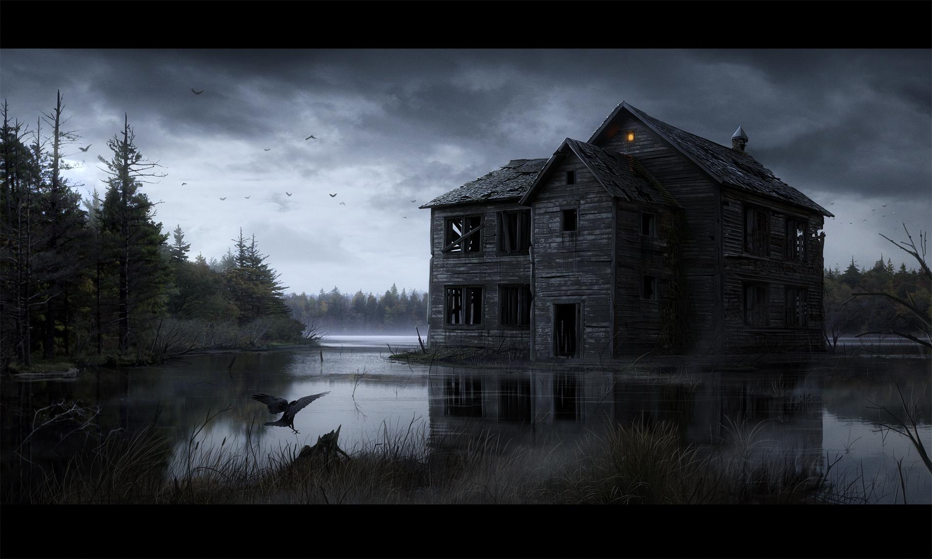 Haunted Horror Creepy Spooky Scary Halloween Haunted House Wallpaper 1900x1140