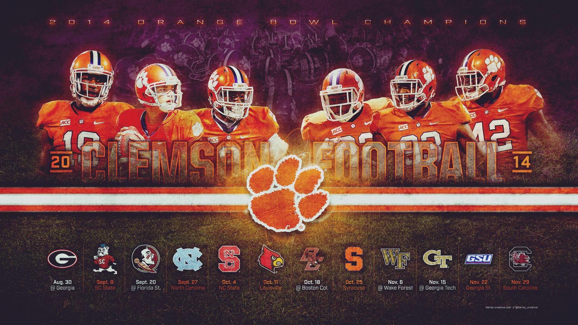 2014 Clemson Football Wallpaper Harley Creative 1920x1080