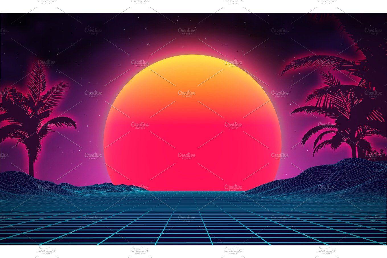 Retro background futuristic landscape 1980s style Digital retro 1360x906