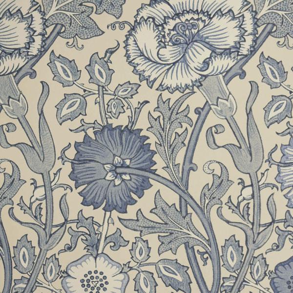 Morris Co Pink Rose Wallpaper Indigo 212567 600x600
