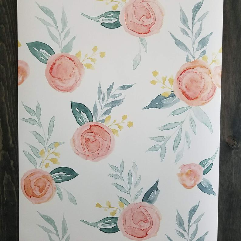 York Wallcoverings Magnolia Watercolor Artful Roses Farmhouse Etsy 794x794