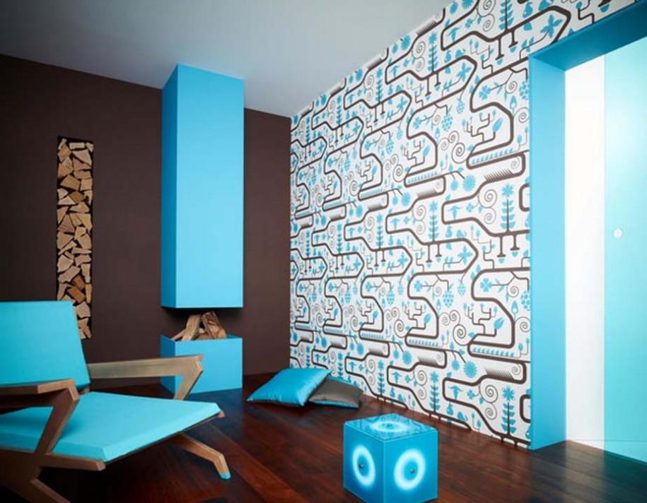 Blue Chair Blue Cushions Pattern Blue Wallpaper Wall Design Ideas Plan 915x712