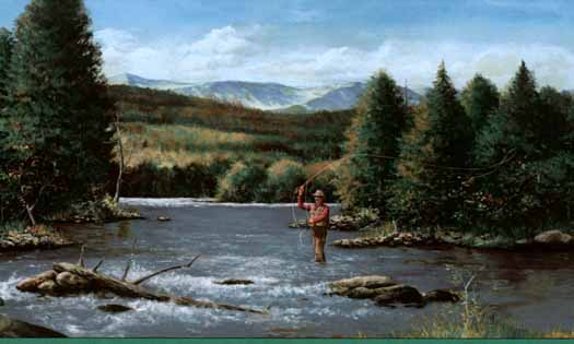 Fly Fishing In The River Wallpaper Border   Wallpaper Border 525x315
