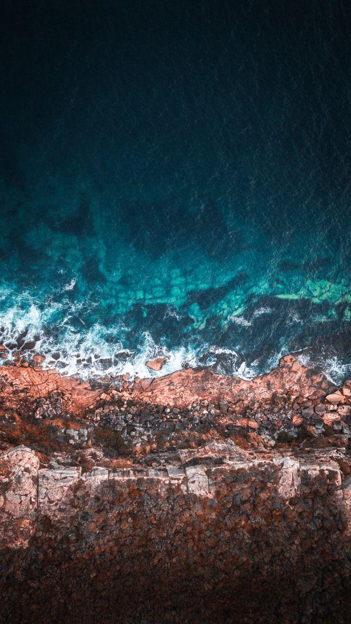Coast sea shore aerial view water 720x1280 wallpaper Ocean 720x1280