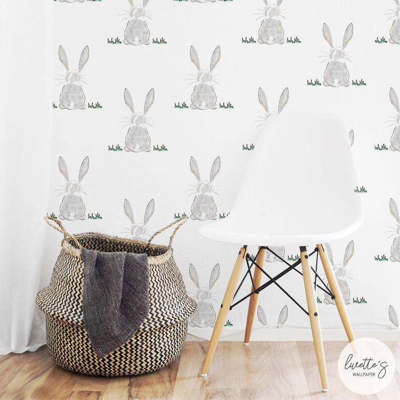 Bunny Butt Removable Wallpaper Traditional or Self adhesive Etsy 794x794