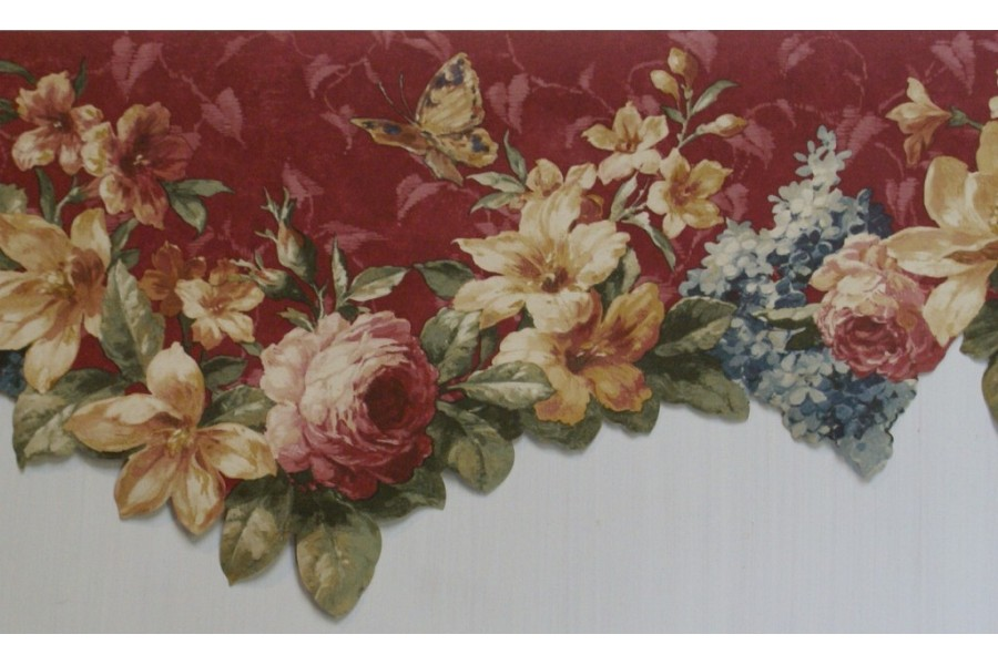 Burgundy Floral Scalloped Wallpaper Border 900x600