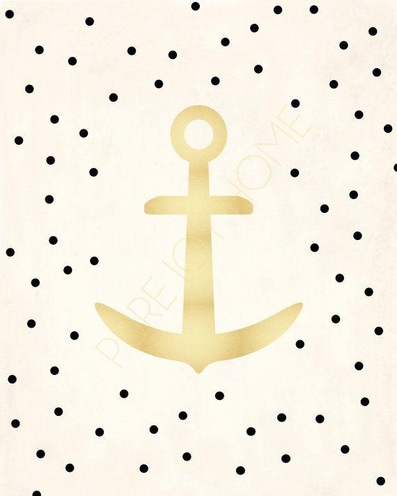 Gold Polka Dot Anchor Print Dots Anchors and Polka dots 570x713