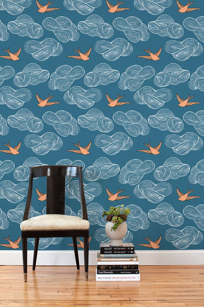 Hygge West Daydream Blue Tile   removable wallpaper 682x1024