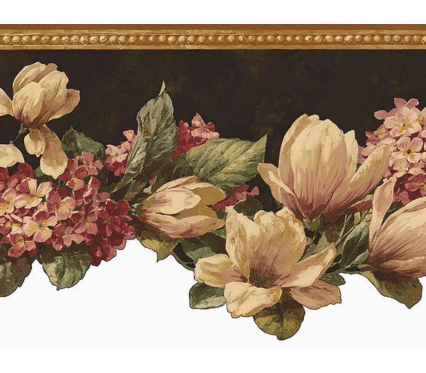 Black Magnolia Wallpaper Border   Kitchen Bathroom Wallpaper 600x525