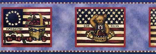 Blue Americana Flag Wallpaper Border   Wallpaper Border Wallpaper 525x184