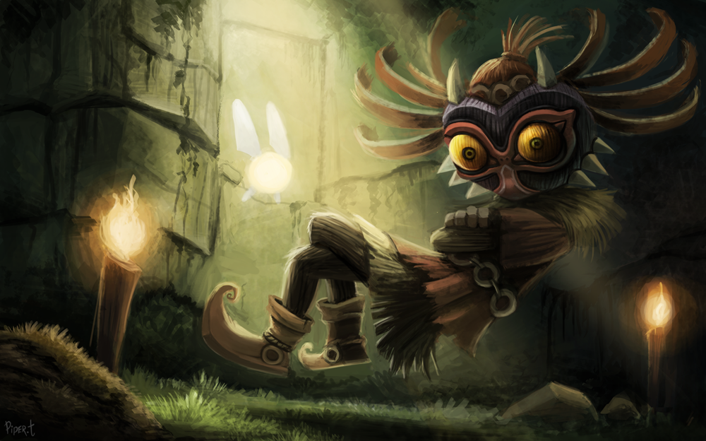 DAY 205 Skull Kid WIP PART 2 3 Hrs 20 Minutes by Cryptid 1000x624