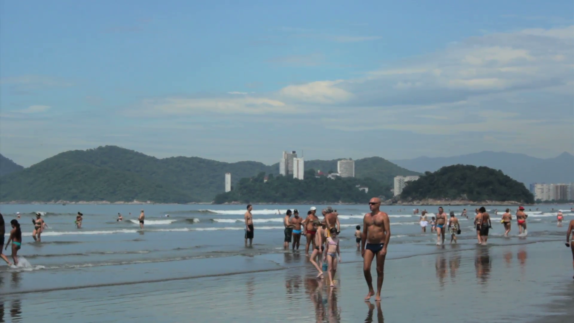 People chilling at Santos Beach Sao Paulo Brazil Stock Video 1920x1080