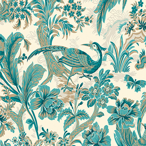 Wallcovering Peacock Blue and Metallic Bird Toile on White Wallpaper 500x500