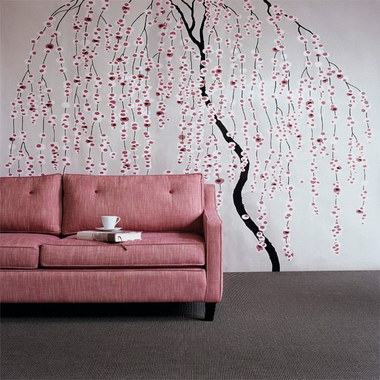 Floral stencil living room Wallpaper ideas for living rooms Living 550x550