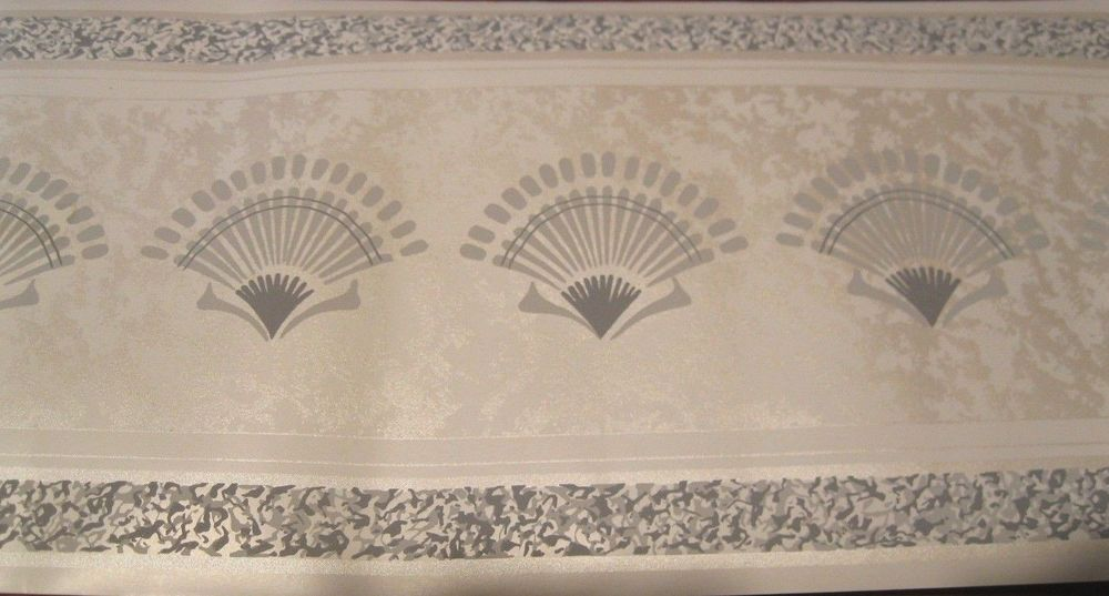 Grey Gray Fan Shell White Satin Moire Deco Retro Wall Wallpaper Border 1000x537